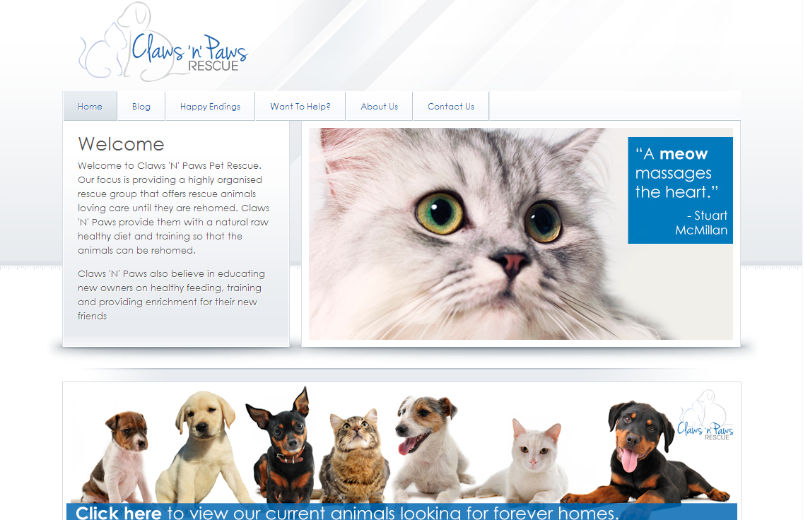 Giving back: Website for Claws 'N' Paws