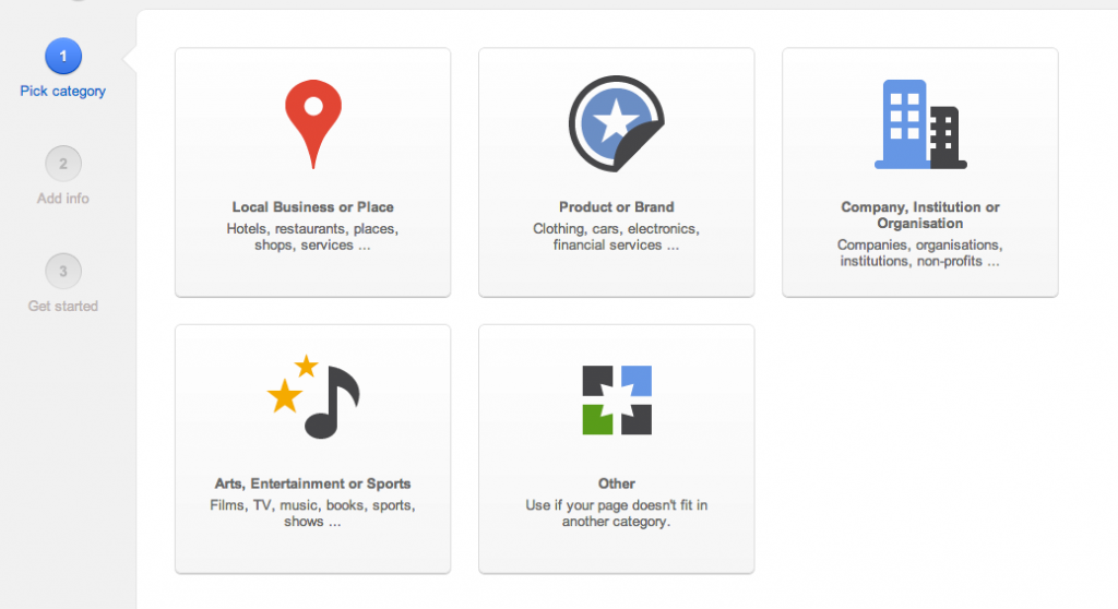GooglePlus Select Business Category